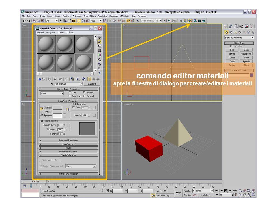 comando editor materiali apre la finestra di dialogo per creare/editare i materiali
