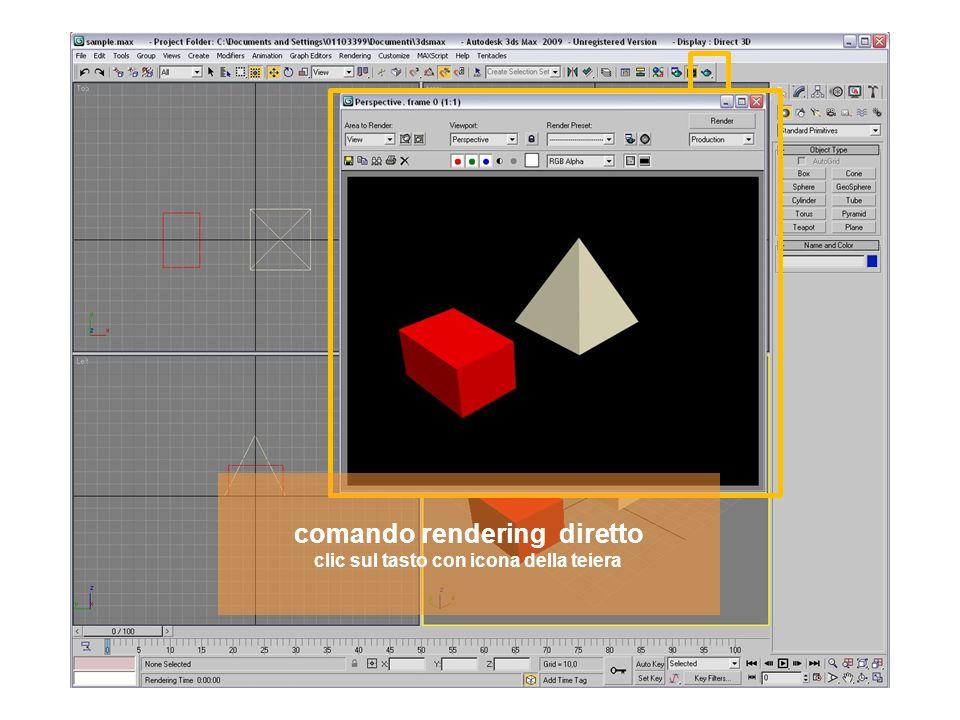 comando rendering diretto clic sul tasto con icona della teiera