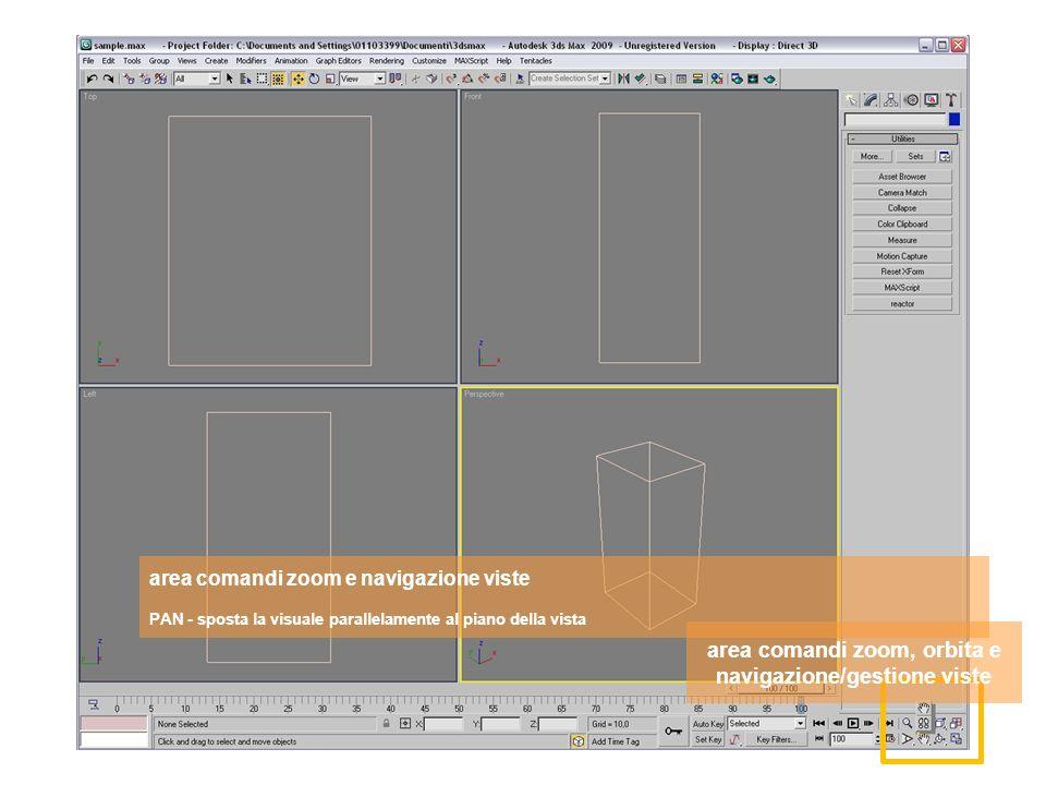 area comandi zoom, orbita e navigazione/gestione viste area comandi zoom e navigazione viste PAN - sposta la visuale parallelamente al piano della vista