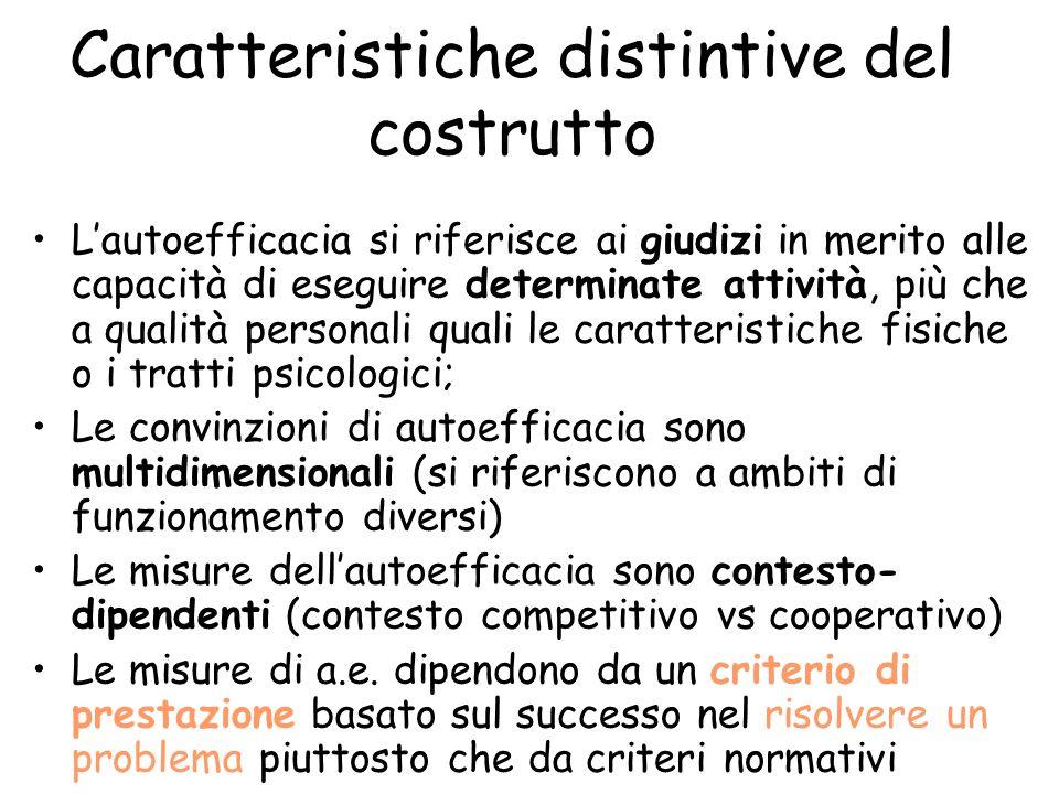 Auto-efficacia 4) Lautoefficacia non è un predittore inerte delle prestazioni future; essa si ripercuote sui processi di pensiero, sul livello e la pe