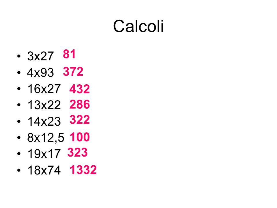 Calcoli 3x27 4x93 16x27 13x22 14x23 8x12,5 19x17 18x74 81 372 432 286 322 100 323 1332