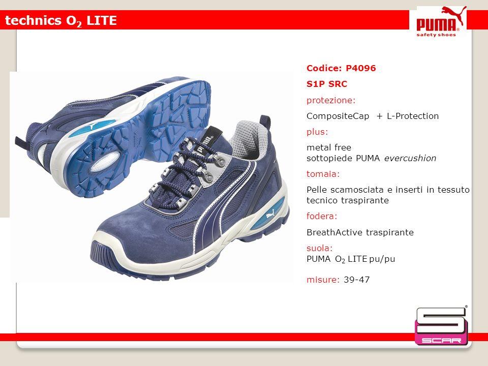 technics O 2 LITE Codice: P4096 S1P SRC protezione: CompositeCap + L-Protection plus: metal free sottopiede PUMA evercushion tomaia: Pelle scamosciata