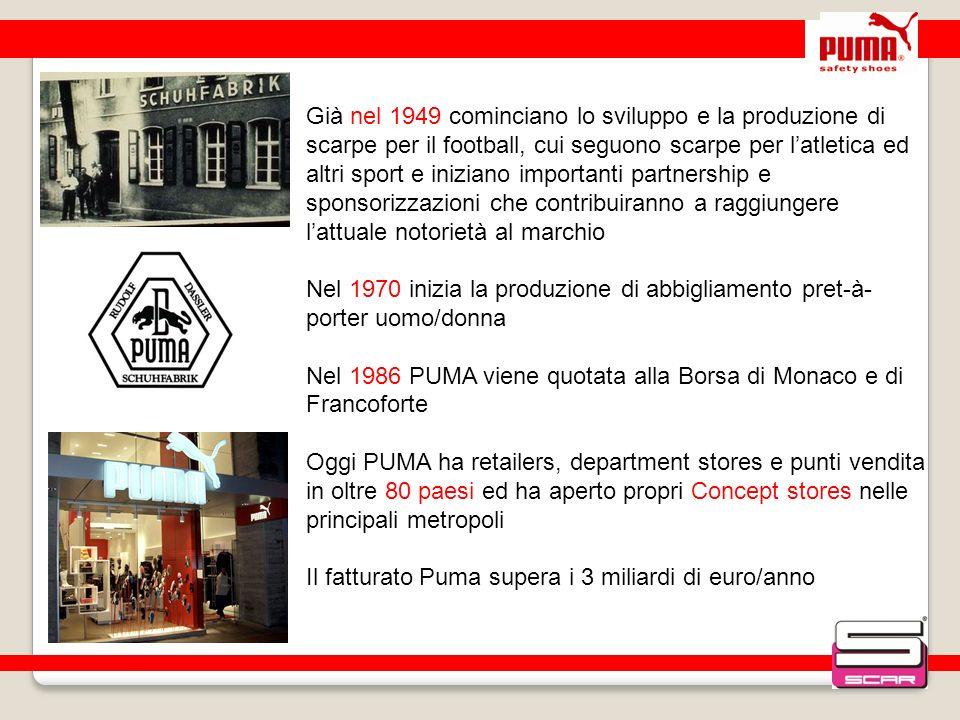 Già nel 1949 cominciano lo sviluppo e la produzione di scarpe per il football, cui seguono scarpe per latletica ed altri sport e iniziano importanti p