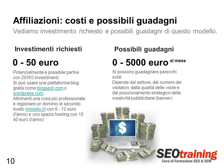 Potenzialmente è possibile partire con ZERO investimenti. Si può usare una piattaforma blog gratis come blogspot.com o wordpress.com.blogspot.com word