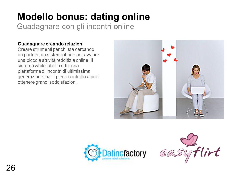 Modello bonus: dating online Guadagnare con gli incontri online Guadagnare creando relazioni Creare strumenti per chi sta cercando un partner, un sist