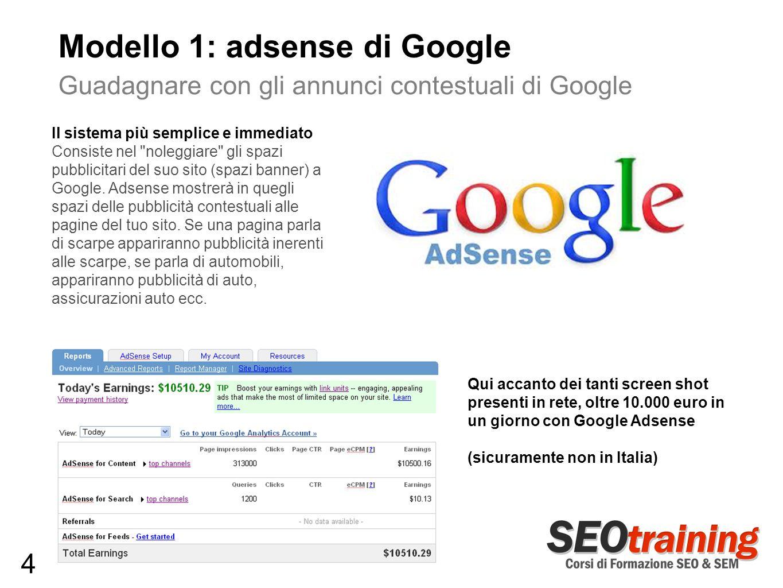 Modello 1: adsense di Google Guadagnare con gli annunci contestuali di Google Il sistema più semplice e immediato Consiste nel