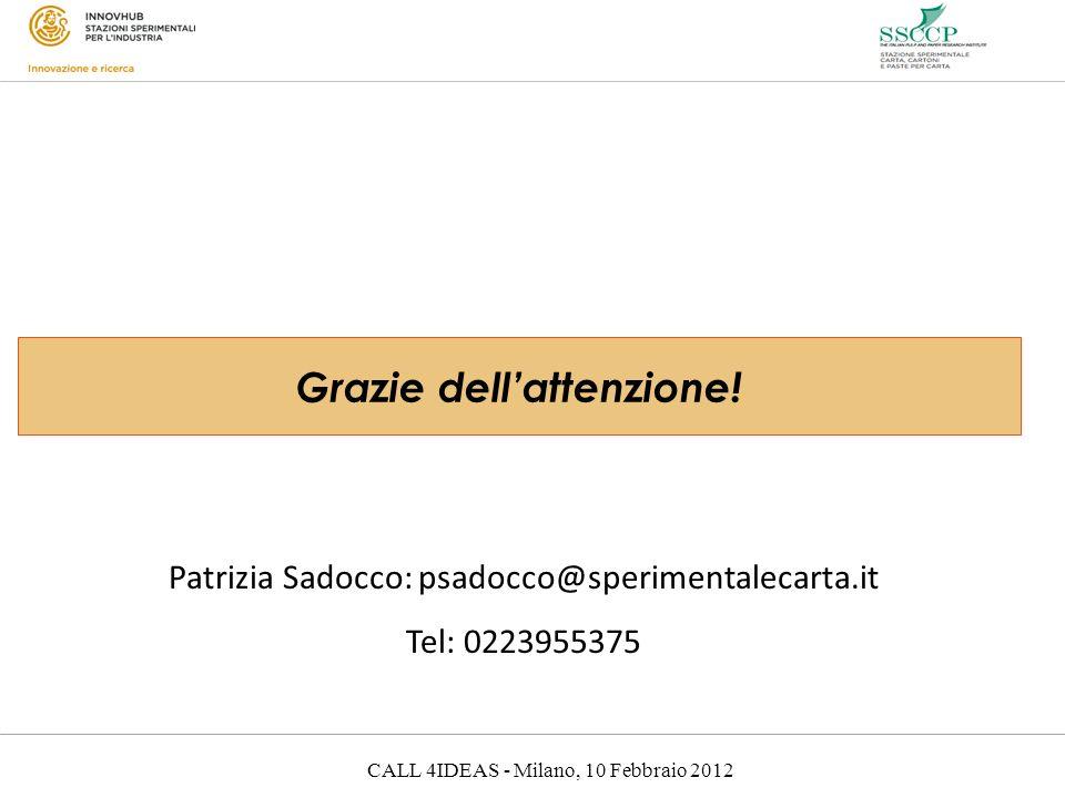 CALL 4IDEAS - Milano, 10 Febbraio 2012 Grazie dellattenzione! Patrizia Sadocco: psadocco@sperimentalecarta.it Tel: 0223955375