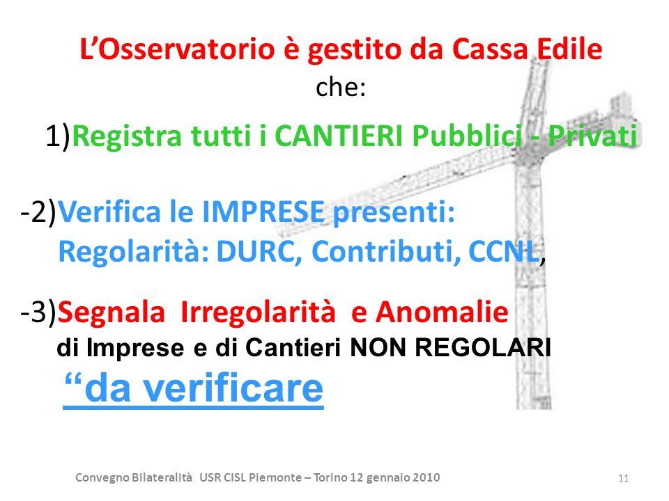 Convegno Bilateralità USR CISL Piemonte – Torino 12 gennaio 2010 11 LOsservatorio è gestito da Cassa Edile che: 1)Registra tutti i CANTIERI Pubblici -