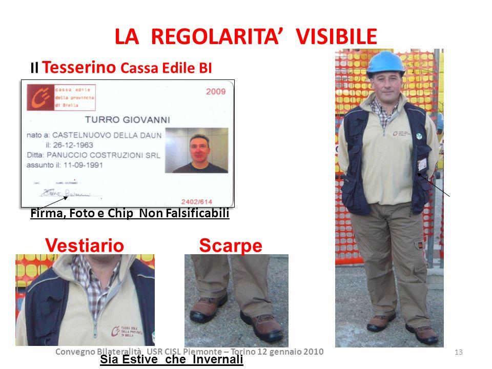 Convegno Bilateralità USR CISL Piemonte – Torino 12 gennaio 2010 13 LA REGOLARITA VISIBILE Il Tesserino Cassa Edile BI Firma, Foto e Chip Non Falsific