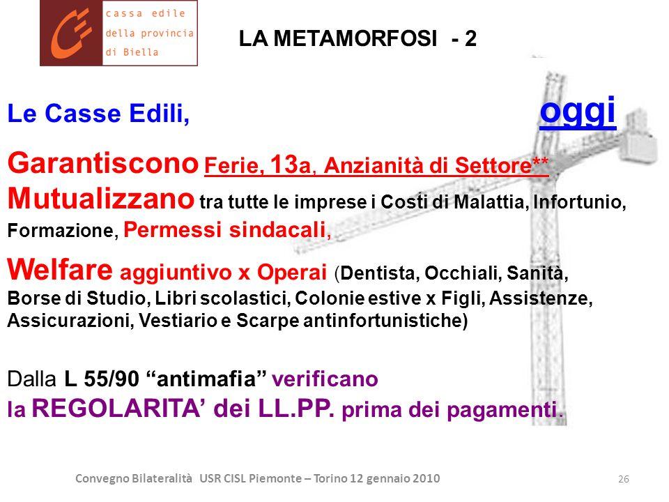 Convegno Bilateralità USR CISL Piemonte – Torino 12 gennaio 2010 26 Le Casse Edili, oggi Garantiscono Ferie, 13 a, Anzianità di Settore** Mutualizzano