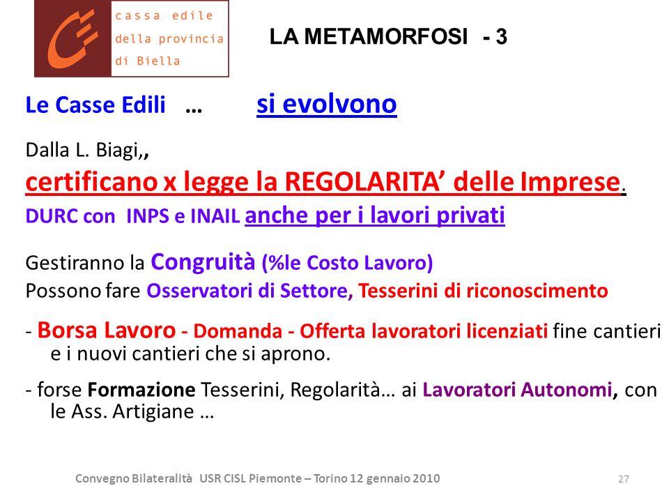 Convegno Bilateralità USR CISL Piemonte – Torino 12 gennaio 2010 27 Le Casse Edili … si evolvono Dalla L. Biagi,, certificano x legge la REGOLARITA de