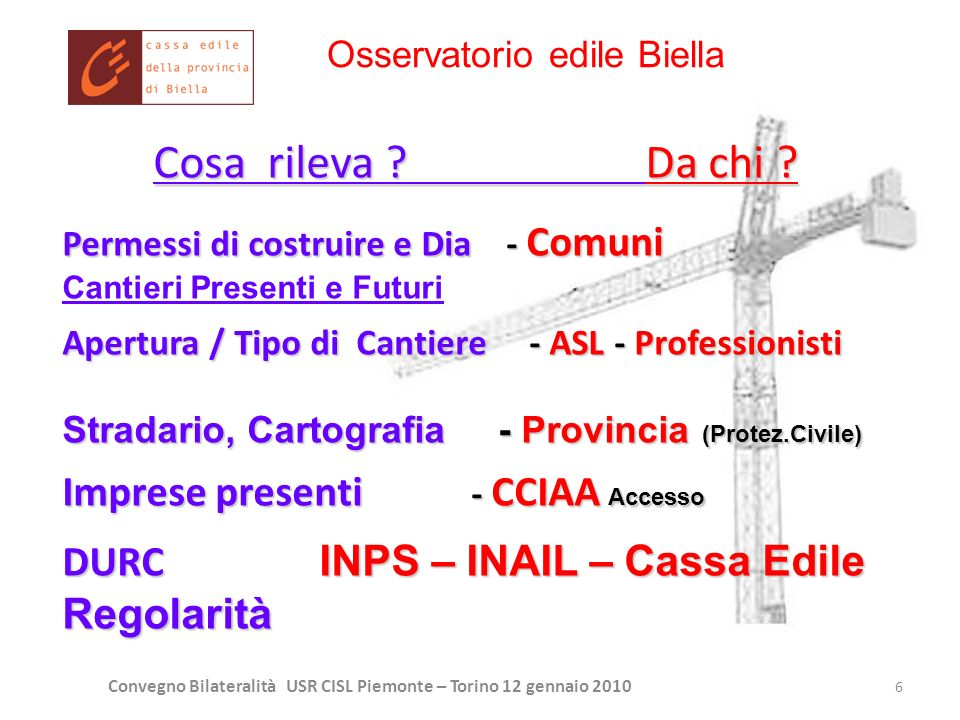 Convegno Bilateralità USR CISL Piemonte – Torino 12 gennaio 2010 6 Cosa rileva ? Da chi ? Permessi di costruire e Dia - Comuni Cantieri Presenti e Fut