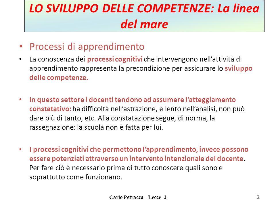 Carlo Petracca - Lecce 2 LO SVILUPPO DELLE COMPETENZE: La linea del mare Processi di apprendimento La conoscenza dei processi cognitivi che intervengo
