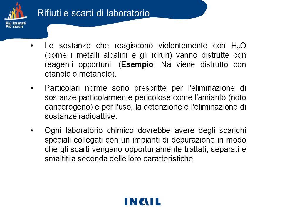 Le sostanze che reagiscono violentemente con H 2 O (come i metalli alcalini e gli idruri) vanno distrutte con reagenti opportuni. (Esempio: Na viene d