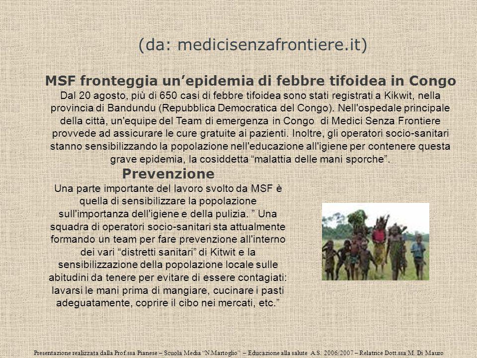 Presentazione realizzata dalla Prof.ssa Pianese – Scuola Media N.Martoglio – Educazione alla salute A.S. 2006/2007 – Relatrice Dott.ssa M. Di Mauro (d