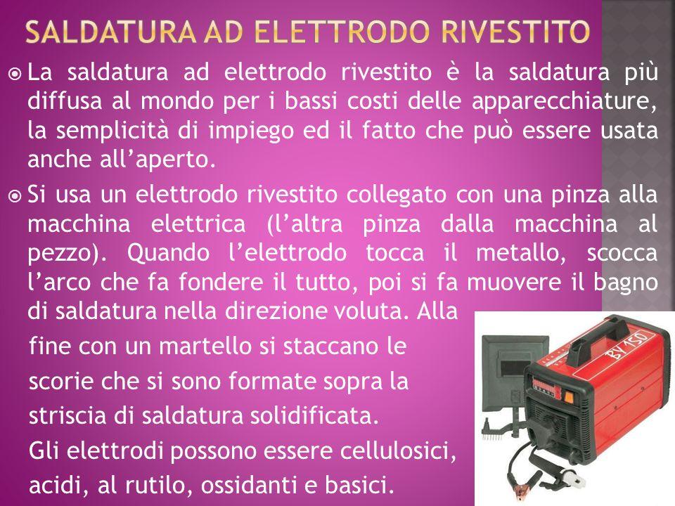 La saldatura ad elettrodo rivestito è la saldatura più diffusa al mondo per i bassi costi delle apparecchiature, la semplicità di impiego ed il fatto