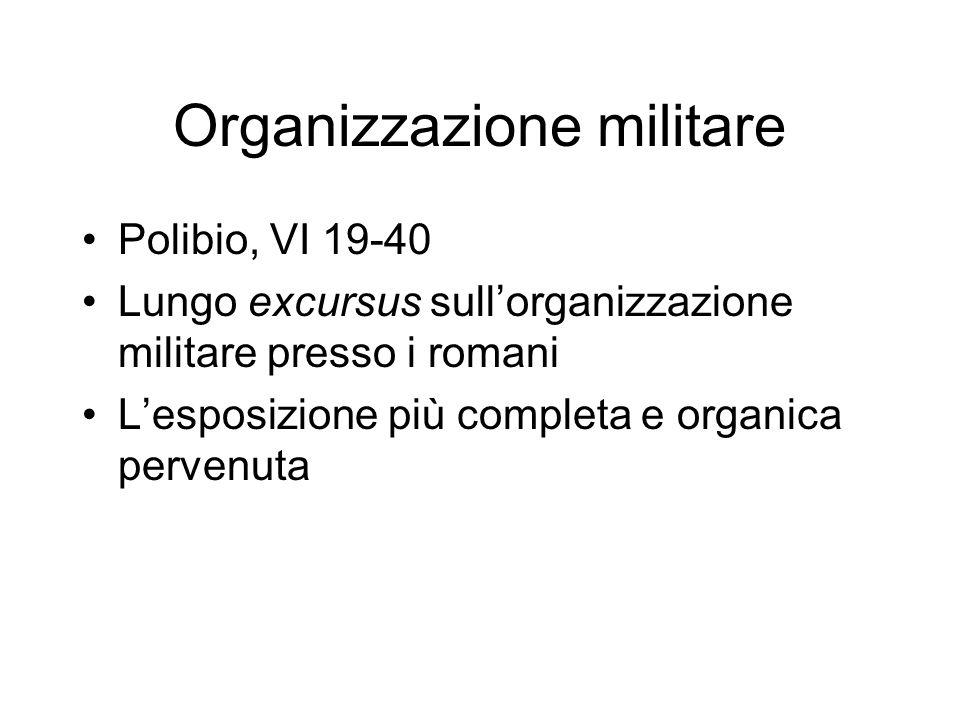 Organizzazione militare Polibio, VI 19-40 Lungo excursus sullorganizzazione militare presso i romani Lesposizione più completa e organica pervenuta
