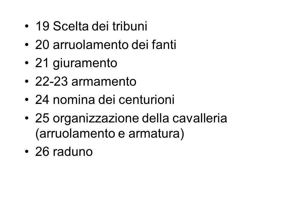 19 Scelta dei tribuni 20 arruolamento dei fanti 21 giuramento 22-23 armamento 24 nomina dei centurioni 25 organizzazione della cavalleria (arruolament