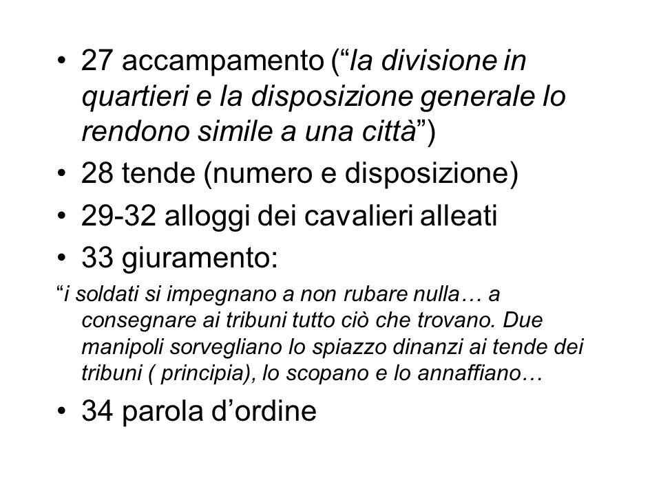 27 accampamento (la divisione in quartieri e la disposizione generale lo rendono simile a una città) 28 tende (numero e disposizione) 29-32 alloggi de