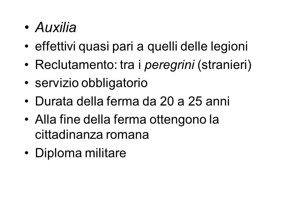 Auxilia effettivi quasi pari a quelli delle legioni Reclutamento: tra i peregrini (stranieri) servizio obbligatorio Durata della ferma da 20 a 25 anni