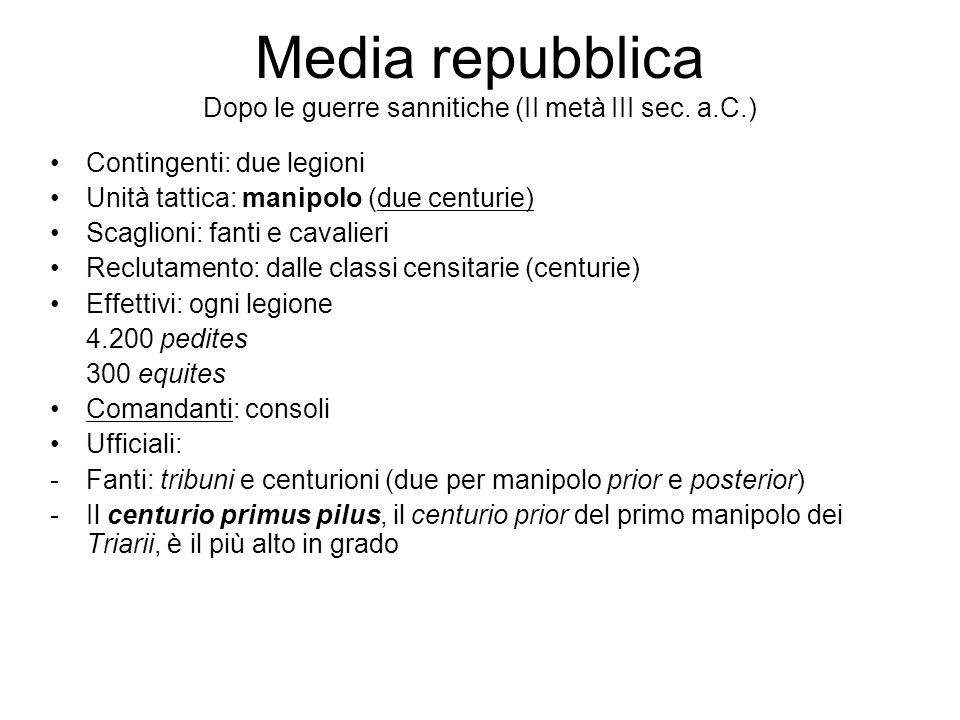 Media repubblica Dopo le guerre sannitiche (II metà III sec. a.C.) Contingenti: due legioni Unità tattica: manipolo (due centurie) Scaglioni: fanti e