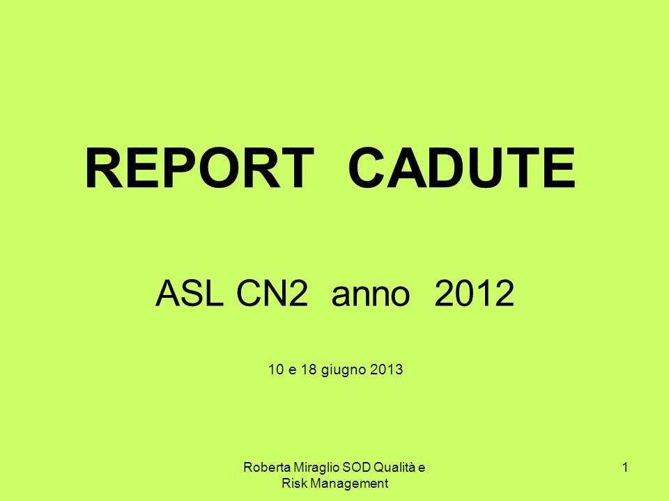 Roberta Miraglio SOD Qualità e Risk Management 1 REPORT CADUTE ASL CN2 anno 2012 10 e 18 giugno 2013
