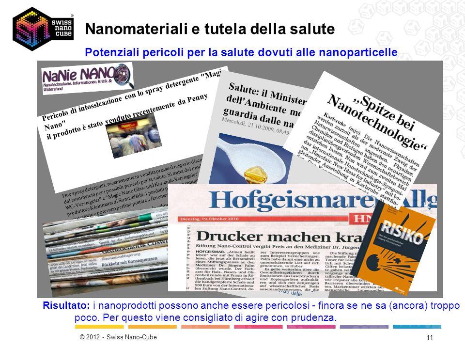© 2012 - Swiss Nano-Cube 11 Potenziali pericoli per la salute dovuti alle nanoparticelle Pericolo di intossicazione con lo spray detergente