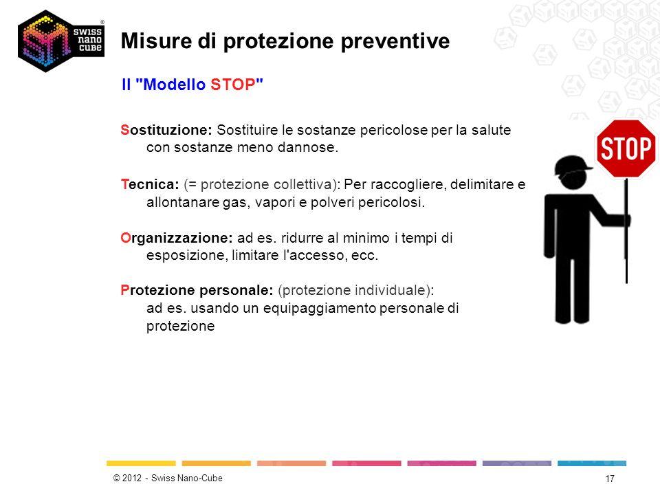 © 2012 - Swiss Nano-Cube 17 Sostituzione: Sostituire le sostanze pericolose per la salute con sostanze meno dannose. Tecnica: (= protezione collettiva