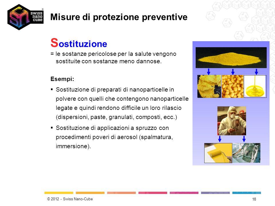 © 2012 - Swiss Nano-Cube 18 S ostituzione = le sostanze pericolose per la salute vengono sostituite con sostanze meno dannose. Esempi: Sostituzione di