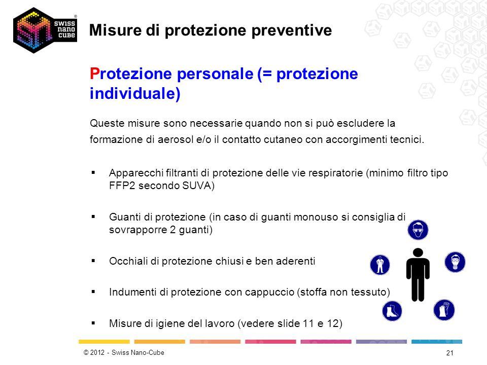 © 2012 - Swiss Nano-Cube 21 Apparecchi filtranti di protezione delle vie respiratorie (minimo filtro tipo FFP2 secondo SUVA) Guanti di protezione (in