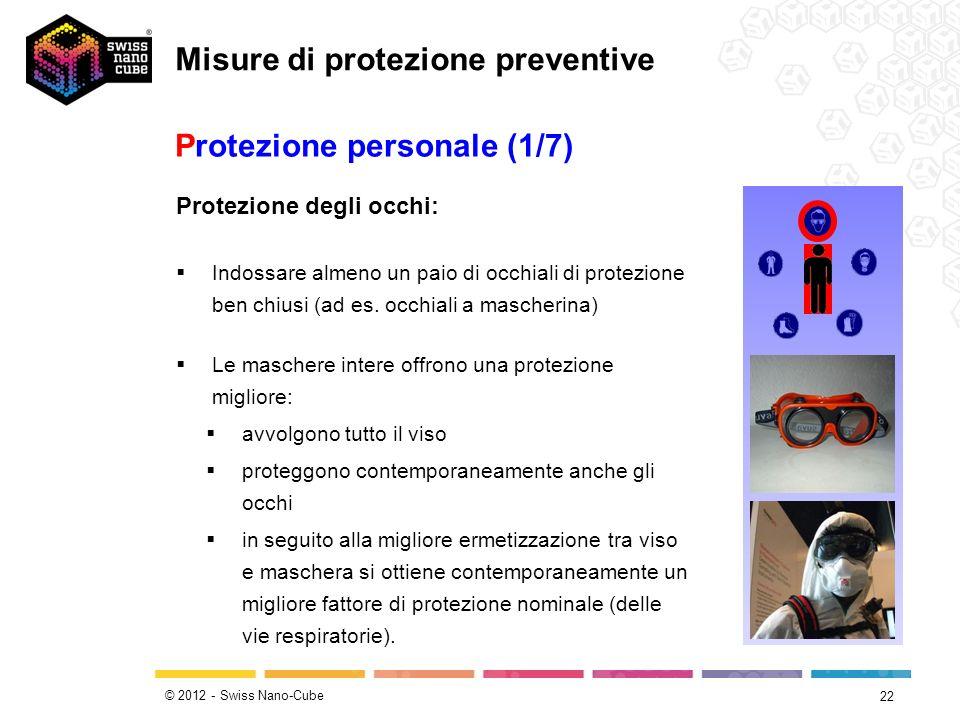 © 2012 - Swiss Nano-Cube 22 Protezione personale (1/7) Protezione degli occhi: Indossare almeno un paio di occhiali di protezione ben chiusi (ad es. o