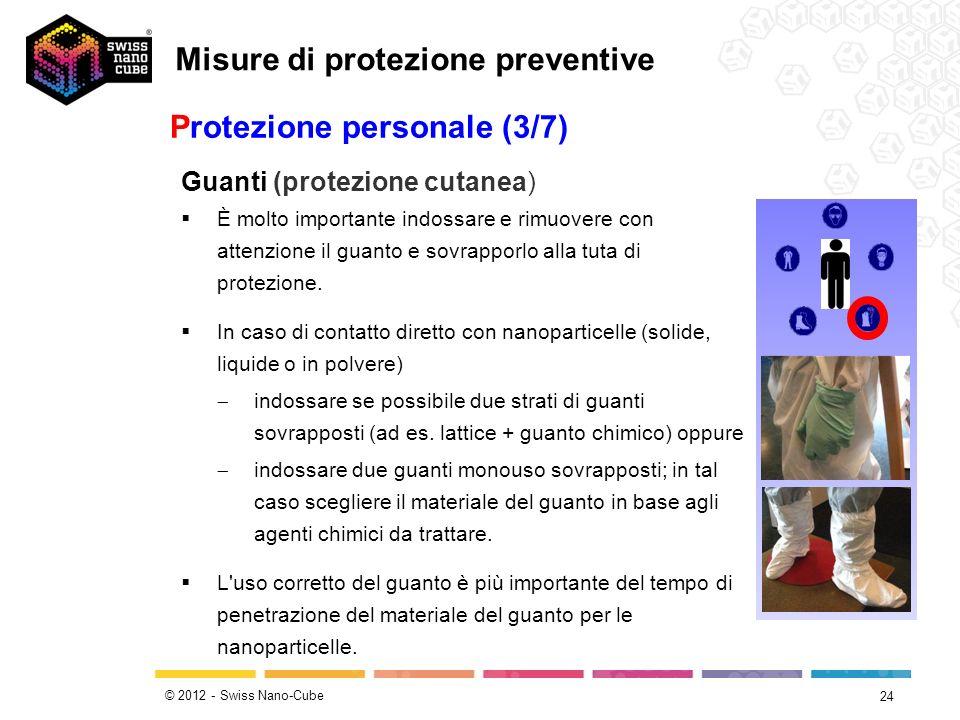 © 2012 - Swiss Nano-Cube 24 Protezione personale (3/7) Guanti (protezione cutanea) È molto importante indossare e rimuovere con attenzione il guanto e