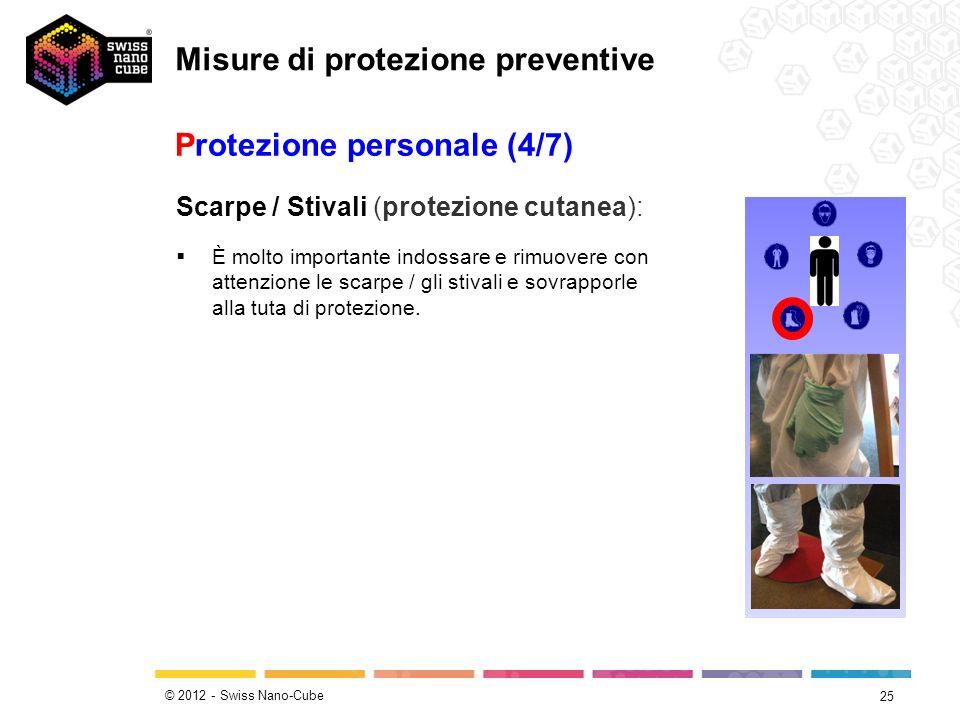 © 2012 - Swiss Nano-Cube 25 Protezione personale (4/7) Scarpe / Stivali (protezione cutanea): È molto importante indossare e rimuovere con attenzione