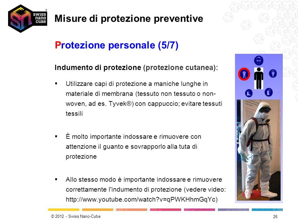 © 2012 - Swiss Nano-Cube 26 Indumento di protezione (protezione cutanea): Utilizzare capi di protezione a maniche lunghe in materiale di membrana (tes