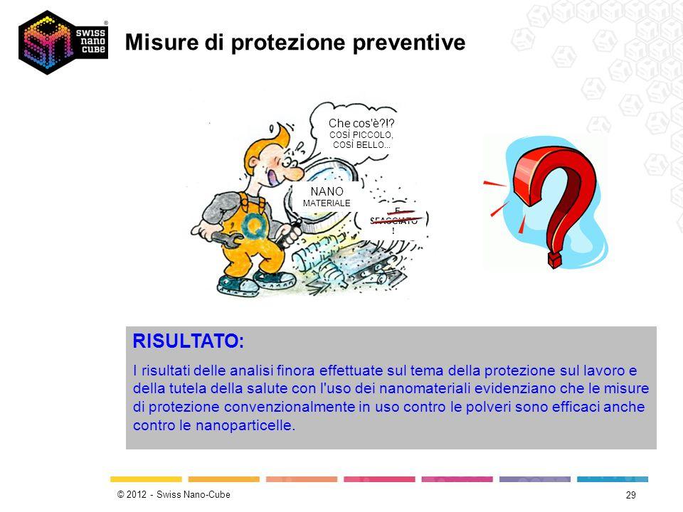 © 2012 - Swiss Nano-Cube 29 RISULTATO: I risultati delle analisi finora effettuate sul tema della protezione sul lavoro e della tutela della salute co