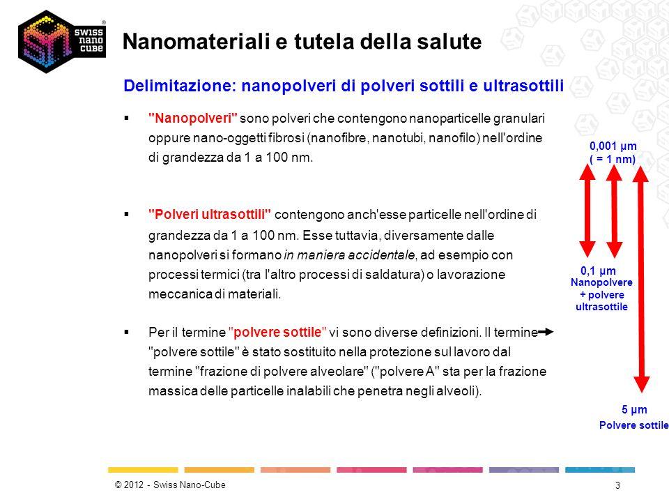 © 2012 - Swiss Nano-Cube 14 Assorbimento attraverso lo stomaco / intestino (per ingestione) Le nanoparticelle possono anche essere assorbite attraverso le mucose del tratto gastro-intestinale.