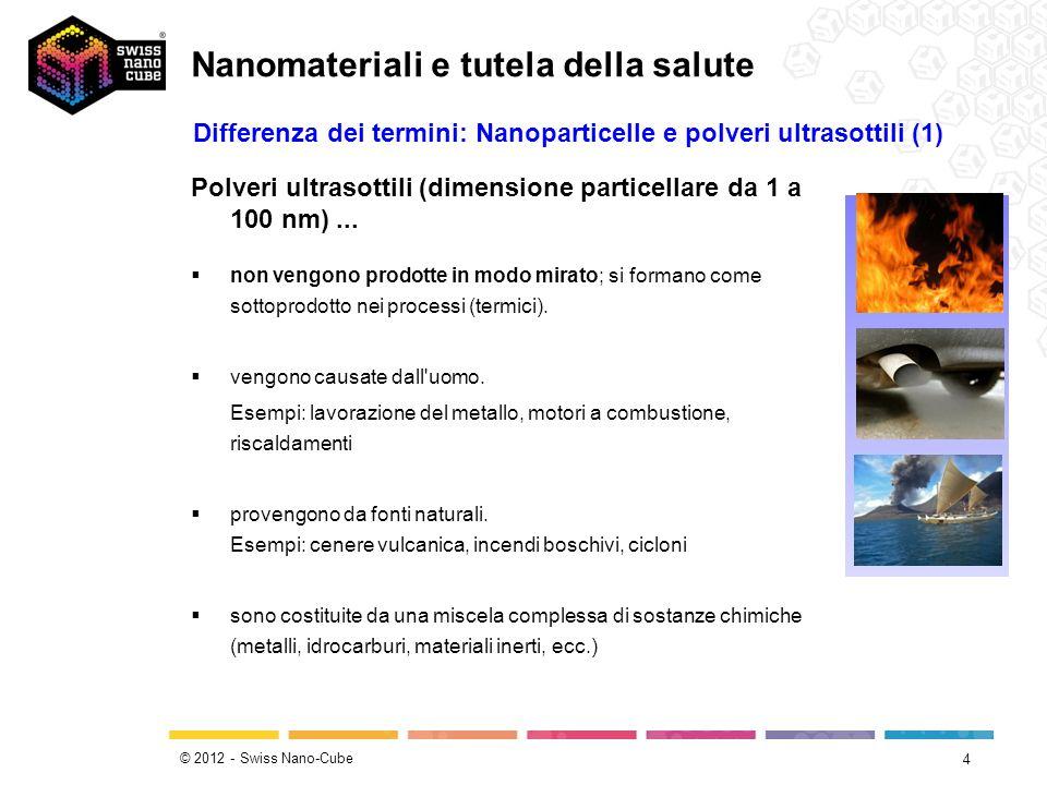 © 2012 - Swiss Nano-Cube 15 Assorbimento per via cutanea (= per via dermica) Il rischio per la salute di un assorbimento delle nanoparticelle sotto forma di polveri attraverso la cute al momento viene considerato ridotto.
