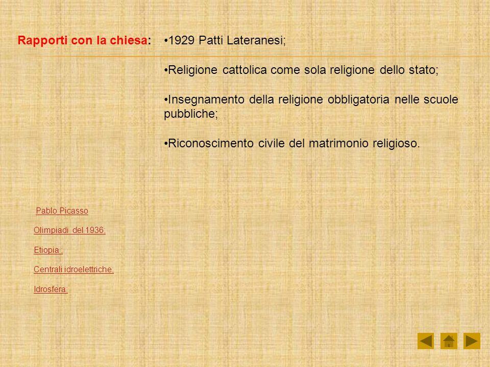 Rapporti con la chiesa:1929 Patti Lateranesi; Religione cattolica come sola religione dello stato; Insegnamento della religione obbligatoria nelle scuole pubbliche; Riconoscimento civile del matrimonio religioso.