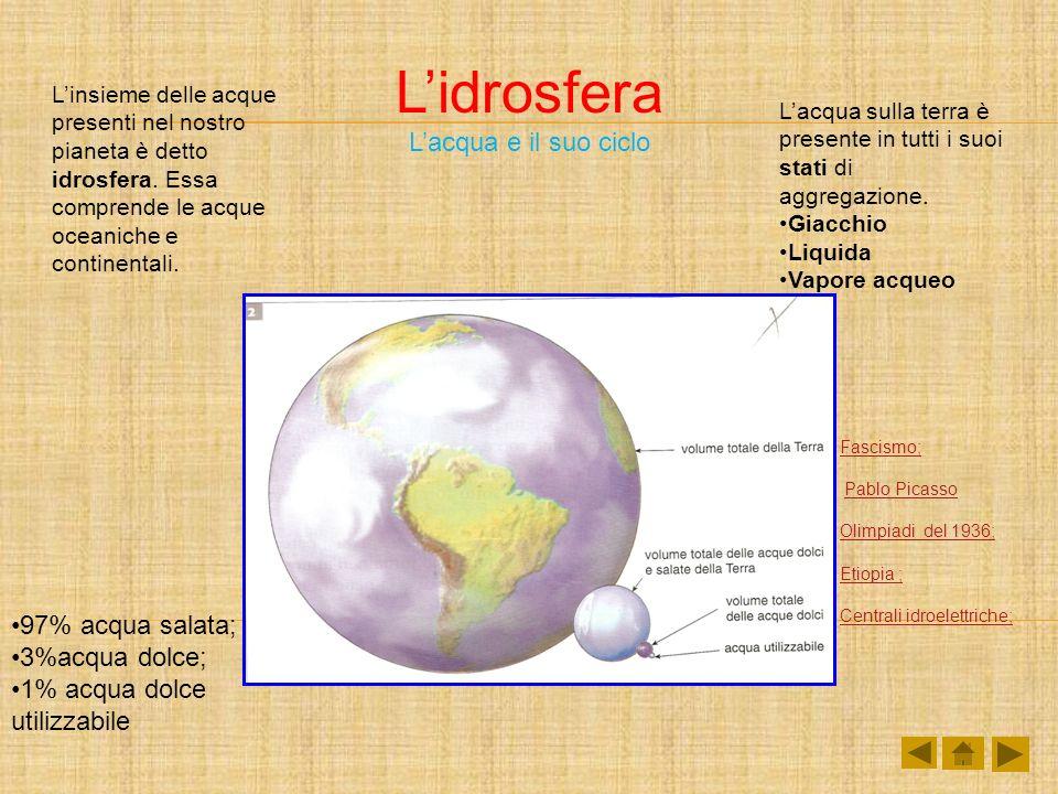 Lidrosfera Lacqua e il suo ciclo Linsieme delle acque presenti nel nostro pianeta è detto idrosfera. Essa comprende le acque oceaniche e continentali.