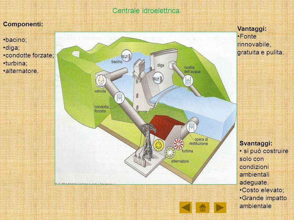 Centrale idroelettrica. Componenti: bacino; diga; condotte forzate; turbina; alternatore. Vantaggi: Fonte rinnovabile, gratuita e pulita. Svantaggi: s