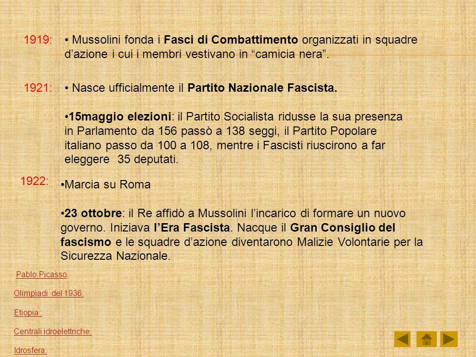 1919: Mussolini fonda i Fasci di Combattimento organizzati in squadre dazione i cui i membri vestivano in camicia nera. 1921: Nasce ufficialmente il P