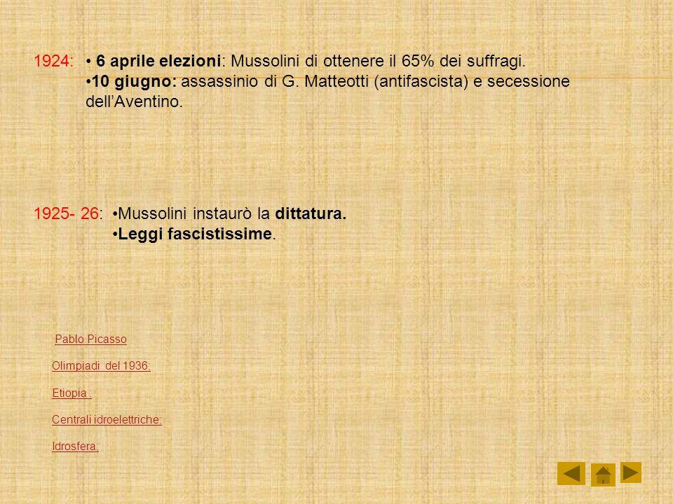 1924: 6 aprile elezioni: Mussolini di ottenere il 65% dei suffragi. 10 giugno: assassinio di G. Matteotti (antifascista) e secessione dellAventino. 19