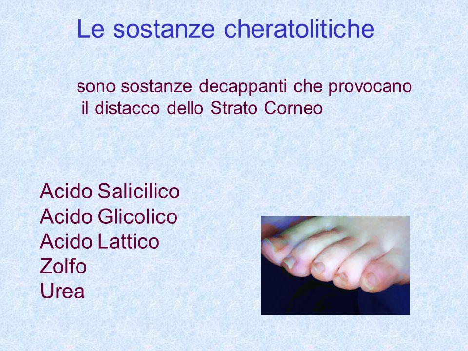 Le sostanze cheratolitiche sono sostanze decappanti che provocano il distacco dello Strato Corneo Acido Salicilico Acido Glicolico Acido Lattico Zolfo