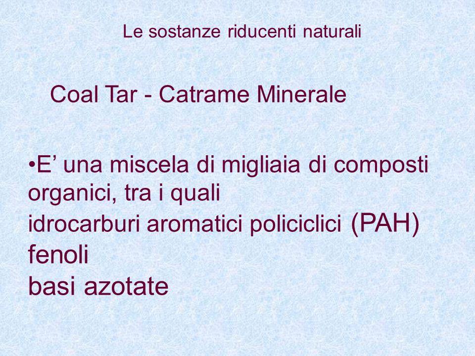 Coal Tar - Catrame Minerale E una miscela di migliaia di composti organici, tra i quali idrocarburi aromatici policiclici (PAH) fenoli basi azotate Le
