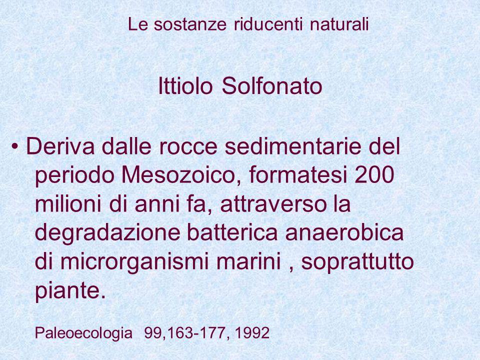 Ittiolo Solfonato Deriva dalle rocce sedimentarie del periodo Mesozoico, formatesi 200 milioni di anni fa, attraverso la degradazione batterica anaero