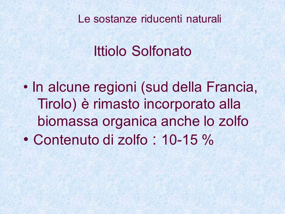 Ittiolo Solfonato In alcune regioni (sud della Francia, Tirolo) è rimasto incorporato alla biomassa organica anche lo zolfo Contenuto di zolfo : 10-15