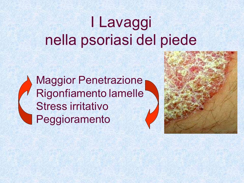 I Lavaggi nella psoriasi del piede Maggior Penetrazione Rigonfiamento lamelle Stress irritativo Peggioramento