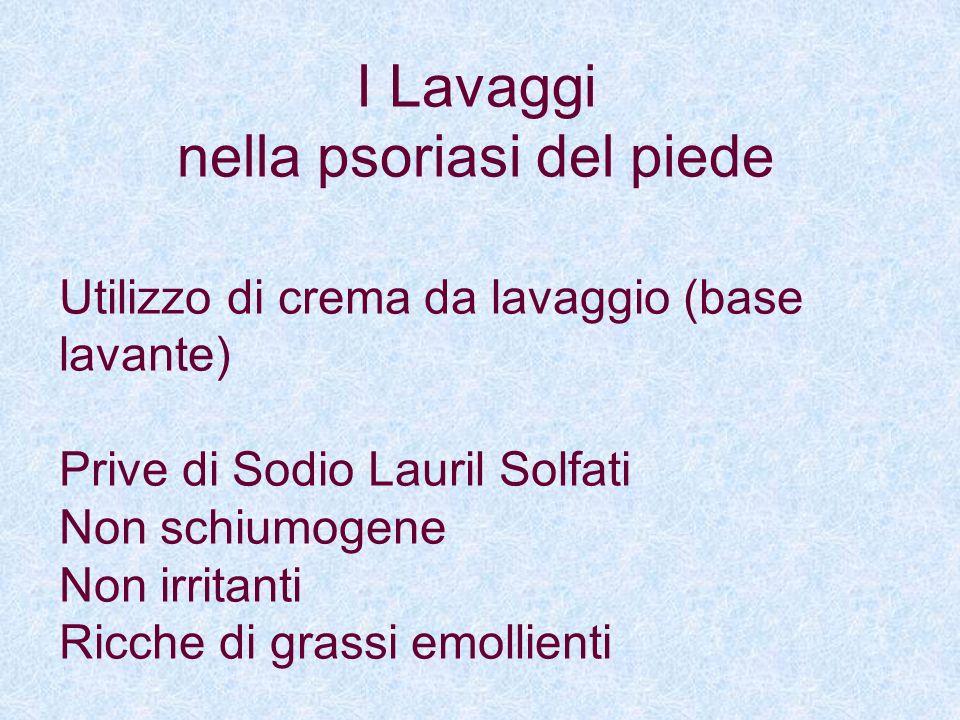 Utilizzo di crema da lavaggio (base lavante) Prive di Sodio Lauril Solfati Non schiumogene Non irritanti Ricche di grassi emollienti I Lavaggi nella p