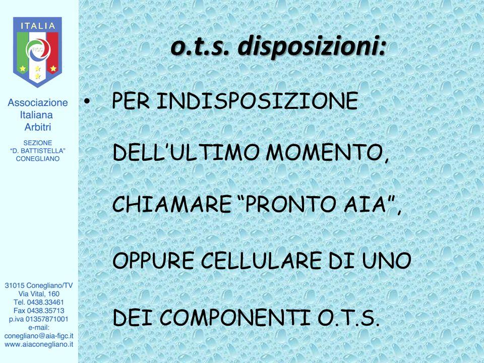 PER INDISPOSIZIONE DELLULTIMO MOMENTO, CHIAMARE PRONTO AIA, OPPURE CELLULARE DI UNO DEI COMPONENTI O.T.S. o.t.s. disposizioni: