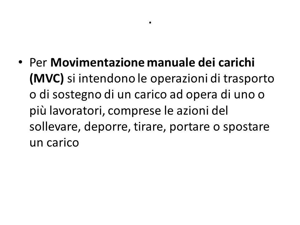 . Per Movimentazione manuale dei carichi (MVC) si intendono le operazioni di trasporto o di sostegno di un carico ad opera di uno o più lavoratori, co